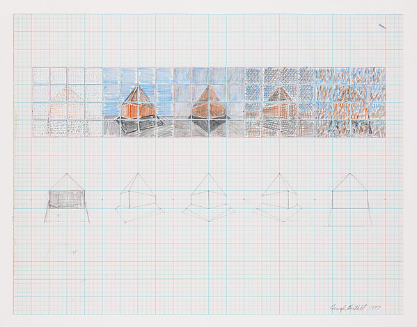 """Drawing for """"Graceland Mansion"""", Jennifer Bartlett (American, born Long Beach, California, 1941), Colored pencil and graphite on graph paper"""