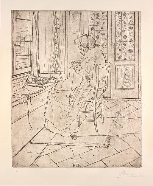 The Artist's Mother Crocheting, Umberto Boccioni (Italian, Reggio 1882–1916 Sorte), Etching and drypoint