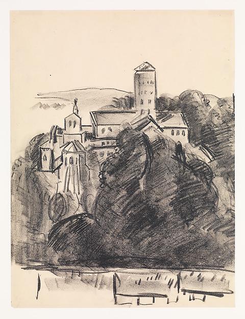 The Cloisters, Marsden Hartley (American, Lewiston, Maine 1877–1943 Ellsworth, Maine), Crayon on paper