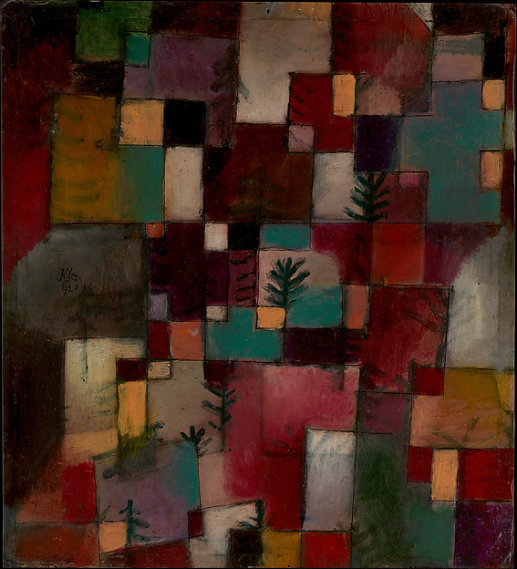 Redgreen and Violet-Yellow Rhythms, Paul Klee (German (born Switzerland), Münchenbuchsee 1879–1940 Muralto-Locarno), Oil and ink on cardboard