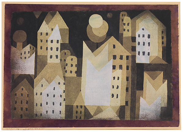 Cold City, Paul Klee (German (born Switzerland), Münchenbuchsee 1879–1940 Muralto-Locarno), Watercolor on paper mounted on maroon paper mounted on cardboard
