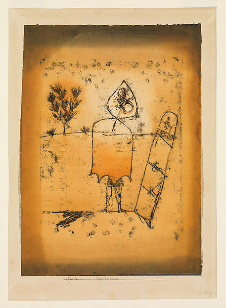 Winter Journey, Paul Klee (German (born Switzerland), Münchenbuchsee 1879–1940 Muralto-Locarno), Watercolor and transferred printing ink on paper, bordered with ink, mounted on cardboard
