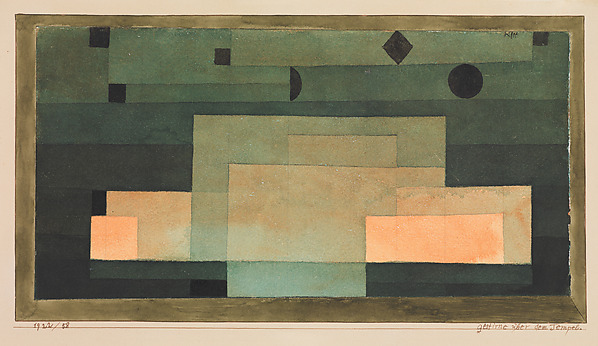The Firmament Above the Temple, Paul Klee (German (born Switzerland), Münchenbuchsee 1879–1940 Muralto-Locarno), Watercolor, pen and ink, and graphite on paper, bordered with gouache and ink, mounted on cardboard
