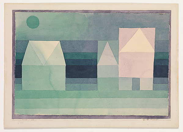Three Houses, Paul Klee (German (born Switzerland), Münchenbuchsee 1879–1940 Muralto-Locarno), Watercolor on paper, bordered with watercolor, mounted on cardboard