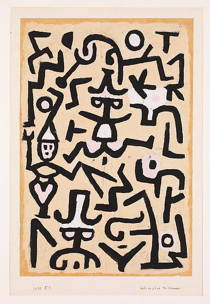 Comedians' Handbill, Paul Klee (German (born Switzerland), Münchenbuchsee 1879–1940 Muralto-Locarno), Gouache on newsprint mounted on cardboard