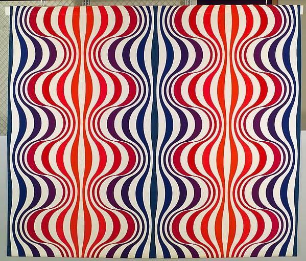 """""""Mira-Spectrum"""" Textile, Verner Panton (Danish, Gamtofte 1926–1998 Copenhagen), Printed cotton"""