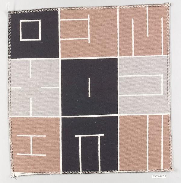 Textile sample, Alvin Lustig (American, Denver, Colorado 1915–1955 New York), Cotton