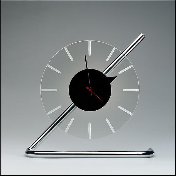 Electric clock, Gilbert Rohde (American, New York 1894–1944 New York), Chrome-plated metal, glass