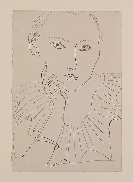 Portrait of a Woman with Ruff and Bracelet, Henri Matisse (French, Le Cateau-Cambrésis 1869–1954 Nice), Pen and ink on paper