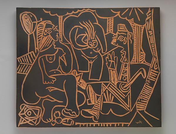 """Le déjeuner sur l'herbe"", after Manet I, Pablo Picasso (Spanish, Malaga 1881–1973 Mougins, France), Terracotta with black slip"