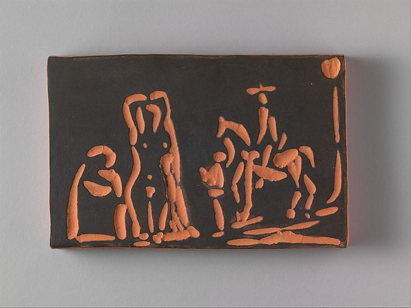 Célestine with a Woman, a Cavalier, and His Valet, Pablo Picasso (Spanish, Malaga 1881–1973 Mougins, France), Terracotta with black slip
