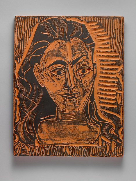 Jacqueline in a Printed Dress, Pablo Picasso (Spanish, Malaga 1881–1973 Mougins, France), Terracotta with black slip