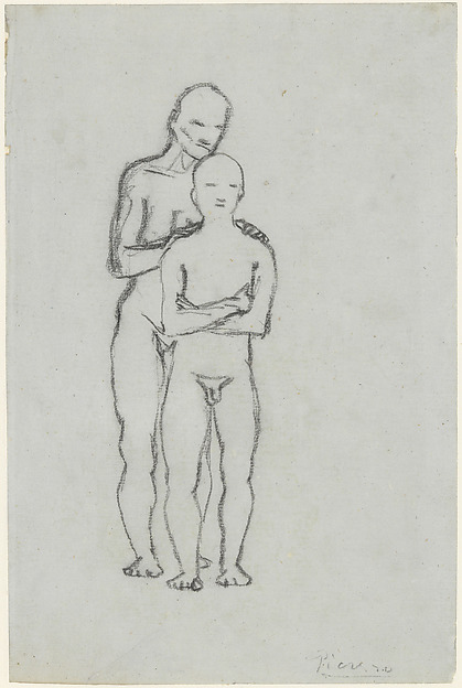 Old Man and Youth, Pablo Picasso (Spanish, Malaga 1881–1973 Mougins, France), Charcoal on paper