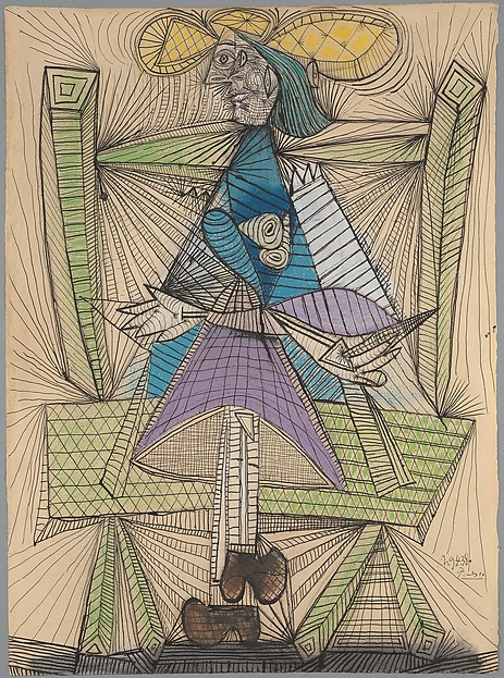 Dora Maar in a Wicker Chair, Pablo Picasso (Spanish, Malaga 1881–1973 Mougins, France), Ink, charcoal, and pastel on paper