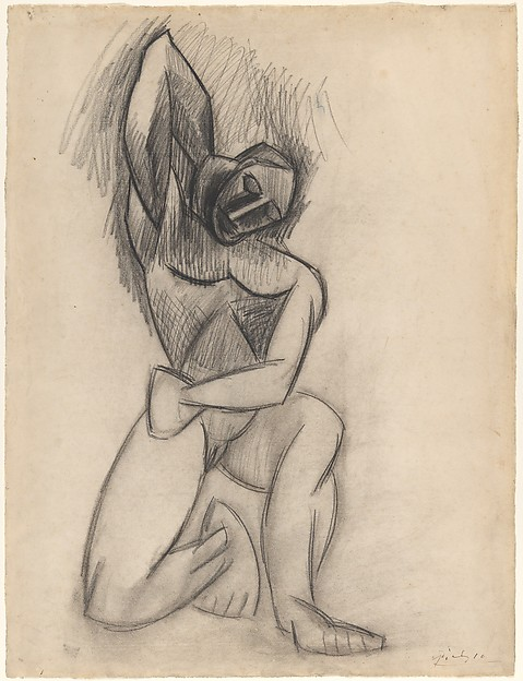 Kneeling Nude, Pablo Picasso (Spanish, Malaga 1881–1973 Mougins, France), Charcoal on paper