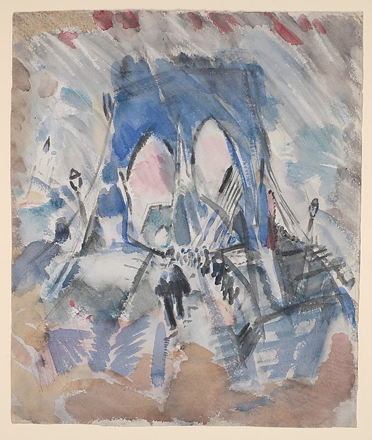 Brooklyn Bridge, John Marin (American, Rutherford, New Jersey 1870–1953 Cape Split, Maine), Watercolor and charcoal on paper
