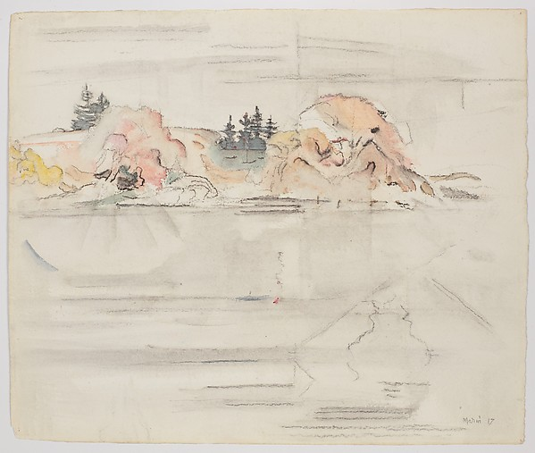 Marin Island, Maine, John Marin (American, Rutherford, New Jersey 1870–1953 Cape Split, Maine), Watercolor and charcoal on paper