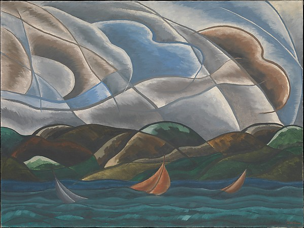 Clouds and Water, Arthur Dove (American, Canandaigua, New York 1880–1946 Huntington, New York), Oil on canvas, with selective varnish