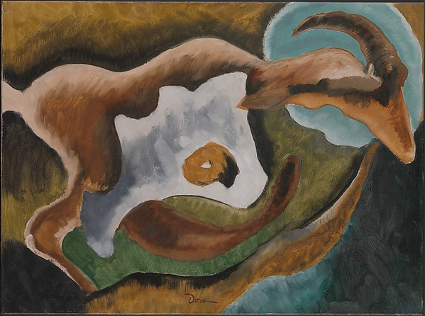Goat, Arthur Dove (American, Canandaigua, New York 1880–1946 Huntington, New York), Oil on canvas with selective varnish