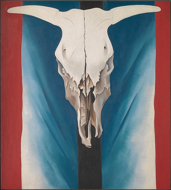 Cow's Skull: Red, White, and Blue, Georgia O'Keeffe (American, Sun Prairie, Wisconsin 1887–1986 Santa Fe, New Mexico), Oil on canvas