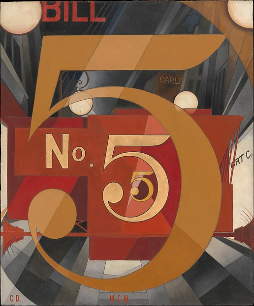 I Saw the Figure 5 in Gold, Charles Demuth (American, Lancaster, Pennsylvania 1883–1935 Lancaster, Pennsylvania), Oil, graphite, ink, and gold leaf on paperboard (Upson board)