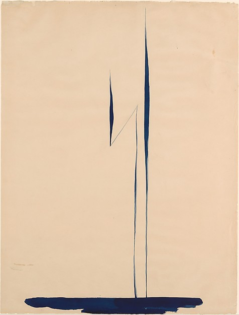 Blue Lines X, Georgia O'Keeffe (American, Sun Prairie, Wisconsin 1887–1986 Santa Fe, New Mexico), Watercolor and graphite on paper