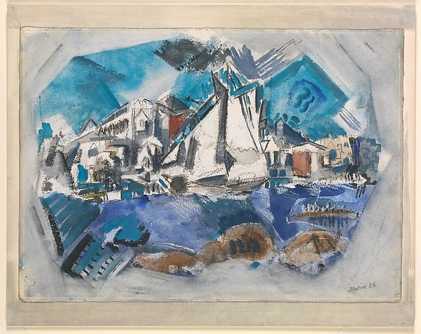Pertaining to Stonington Harbor, Maine, John Marin (American, Rutherford, New Jersey 1870–1953 Cape Split, Maine), Watercolor and crayon on paper, mounted on painted paper