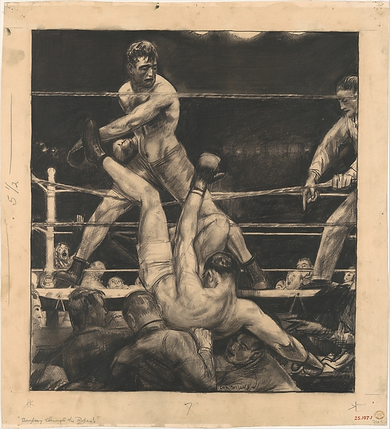 Dempsey through the Ropes, George Bellows (American, Columbus, Ohio 1882–1925 New York), Lithographic crayon on paper