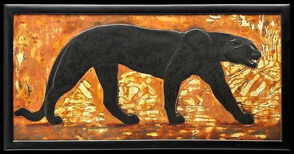 Panther, Jean Dunand (French (born Switzerland), Lancy 1877–1942 Paris), Lacquered wood, eggshell, French