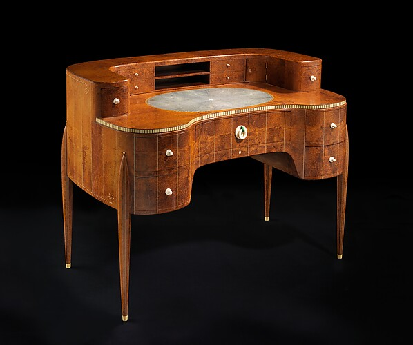 """David-Weill"" Desk, Émile-Jacques Ruhlmann (French, Paris 1879–1933 Paris), Amboyna, ivory, sharkskin, silk, metal, oak, lumber-core plywood, poplar, walnut, birch, macassar ebony"