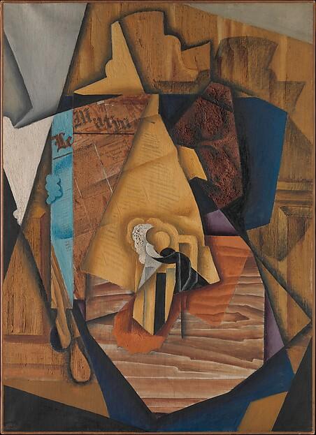 The Man at the Café, Juan Gris (Spanish, Madrid 1887–1927 Boulogne-sur-Seine), Oil and newsprint collage on canvas