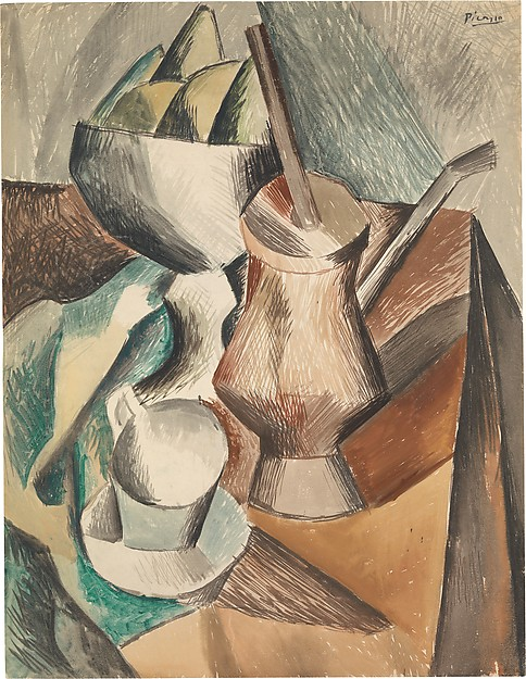 The Chocolate Pot, Pablo Picasso (Spanish, Malaga 1881–1973 Mougins, France), Watercolor and gouache with traces of charcoal on white laid paper
