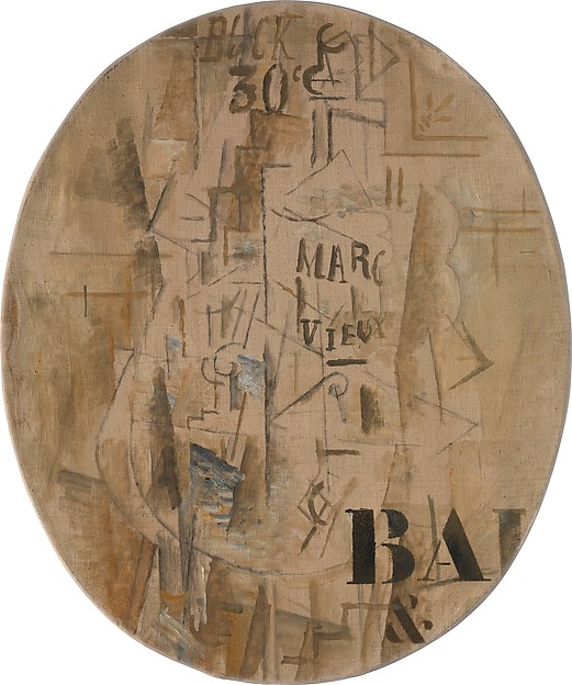 Bottle of Marc Vieux, Georges Braque (French, Argenteuil 1882–1963 Paris), Oil and charcoal on canvas