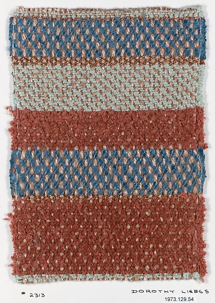Textile sample, Dorothy Liebes (American, Santa Rosa, California 1897–1972 New York), Cotton, various fibers, Lurex (aluminum foil, plastic coated)