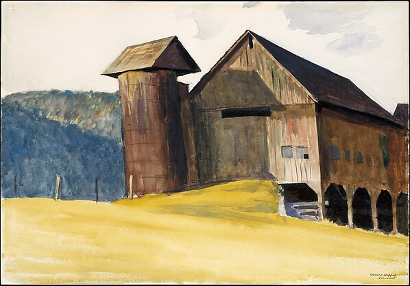 Barn and Silo, Vermont, Edward Hopper (American, Nyack, New York 1882–1967 New York), Watercolor, gouache and charcoal on paper