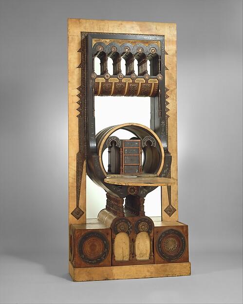 Secretary, Carlo Bugatti (Italian, Milan 1855–1940 Molsheim), Walnut, tin, copper, vellum, and mirror glass