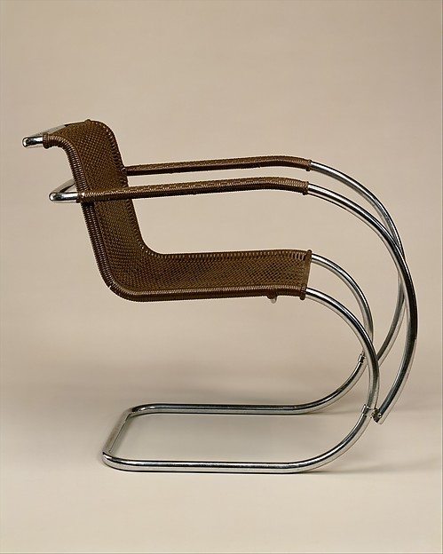 """""""MR"""" Armchair, Ludwig Mies van der Rohe (American (born Germany), Aachen 1886–1969 Chicago, Illinois), Tubular steel, painted caning"""