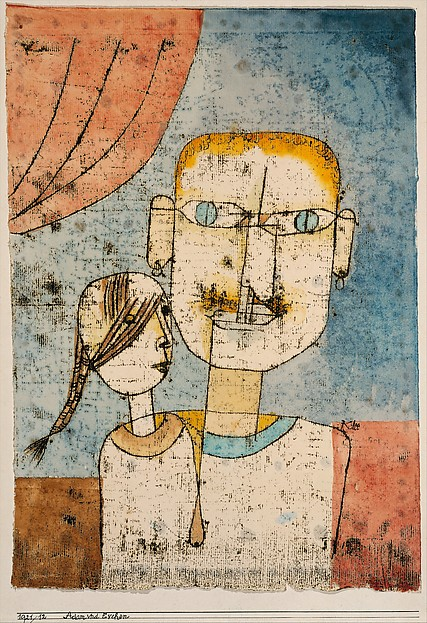 Adam and Little Eve, Paul Klee (German (born Switzerland), Münchenbuchsee 1879–1940 Muralto-Locarno), Watercolor and transferred printing ink on paper mounted on cardboard