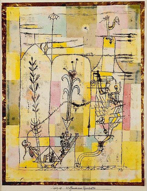 Tale à la Hoffmann, Paul Klee (German (born Switzerland), Münchenbuchsee 1879–1940 Muralto-Locarno), Watercolor, graphite, and transferred printing ink on paper bordered with metallic foil, mounted on cardboard