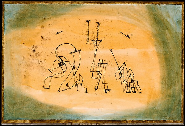 Abstract Trio, Paul Klee (German (born Switzerland), Münchenbuchsee 1879–1940 Muralto-Locarno), Watercolor and transferred printing ink on paper, bordered with gouache and ink, mounted on cardboard