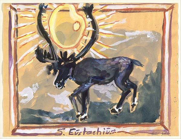 Saint Eustace, Anselm Kiefer (German, born Donaueschingen, 1945), Watercolor, gouache, and colored pencil on paper