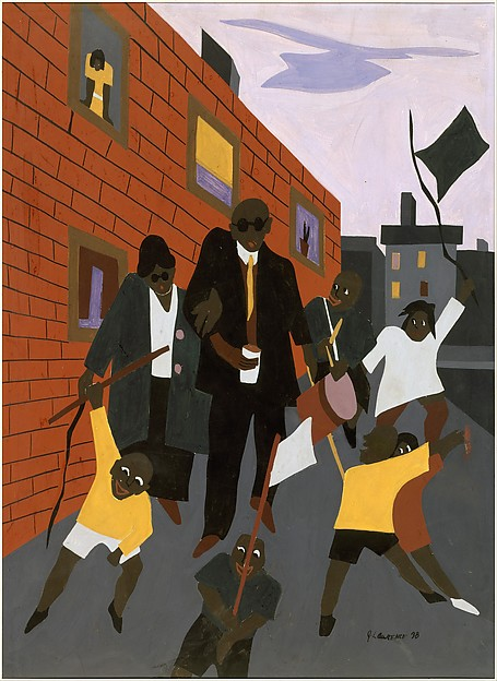 Blind Beggars, Jacob Lawrence (American, Atlantic City, New Jersey 1917–2000 Seattle, Washington), Tempera on illustration board