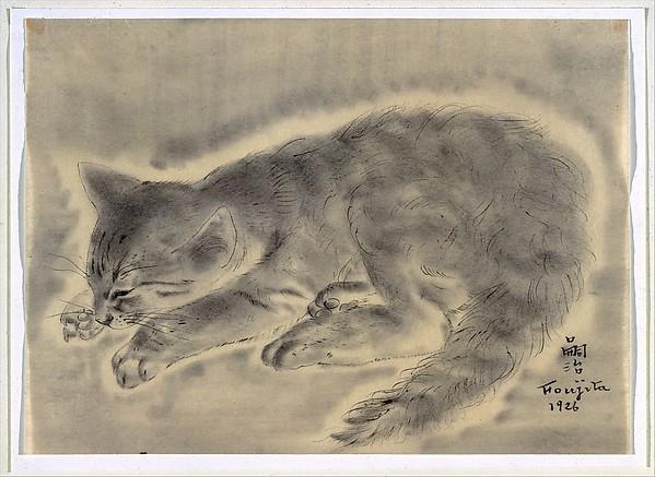 Cat, Tsuguharu Foujita (French (born Japan), Tokyo 1886–1968 Zurich), Ink on paper