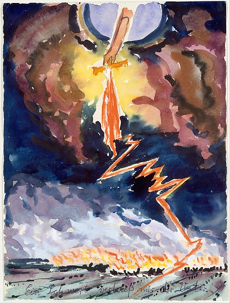 My Father Pledged Me a Sword, Anselm Kiefer (German, born Donaueschingen, 1945), Watercolor, gouache, colored pencil, and ballpoint pen on paper