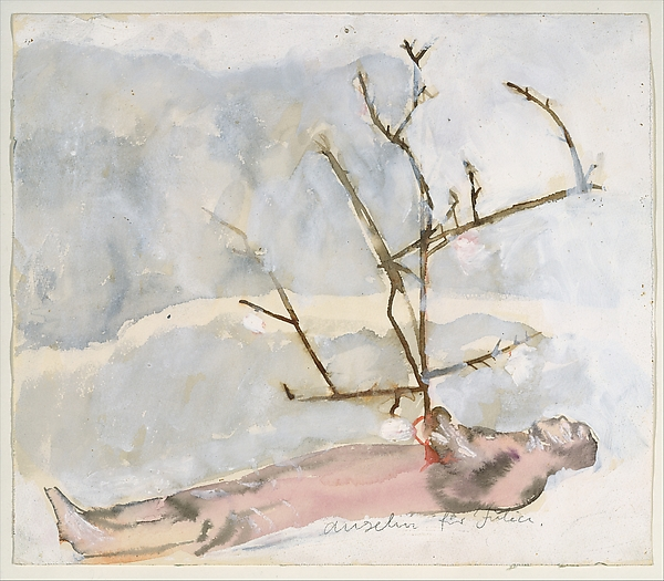 Man Lying with Branch, Anselm Kiefer (German, born Donaueschingen, 1945), Watercolor, gouache, and graphite on paper