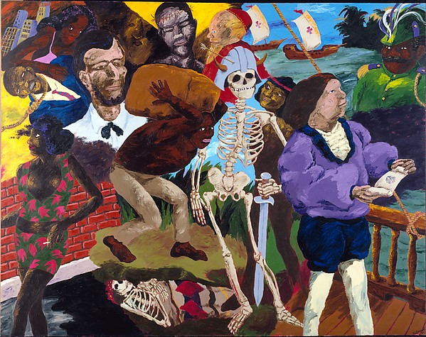Knowledge of the Past Is the Key to the Future: Some Afterthoughts on Discovery, Robert Colescott (American, 1925–2009), Acrylic on canvas