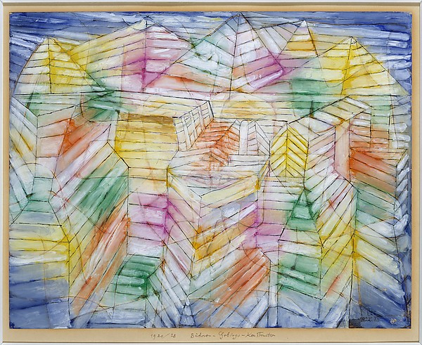 Theater-Mountain-Construction, Paul Klee (German (born Switzerland), Münchenbuchsee 1879–1940 Muralto-Locarno), Oil, gouache, and ink on paper mounted on cardboard