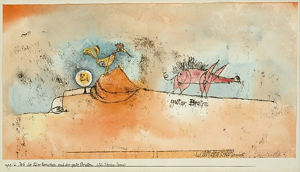 Where the Eggs and the Good Roast Come From, Paul Klee (German (born Switzerland), Münchenbuchsee 1879–1940 Muralto-Locarno), Watercolor and transferred printing ink on paper mounted on cardboard