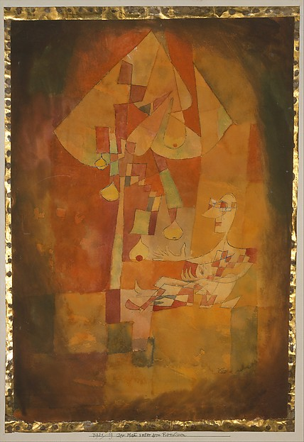 The Man Under the Pear Tree, Paul Klee (German (born Switzerland), Münchenbuchsee 1879–1940 Muralto-Locarno), Watercolor and transferred printing ink on paper, bordered with metallic foil, mounted on cardboard