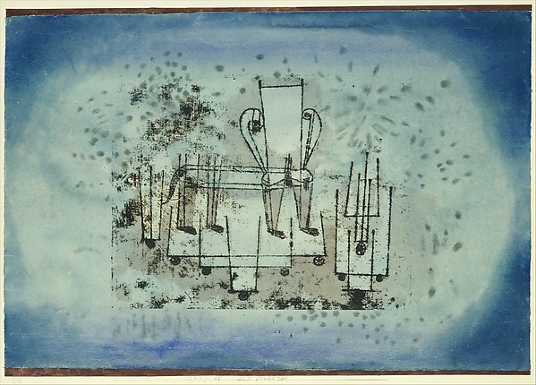 The Chair-Animal, Paul Klee (German (born Switzerland), Münchenbuchsee 1879–1940 Muralto-Locarno), Watercolor and transferred printing ink on paper, bordered with gouache, mounted on cardboard